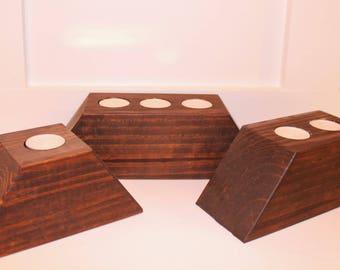 Repurposed wood tealight candle holders