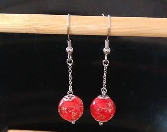 red glitter glass ball earrings Gold Titanium chain attachment