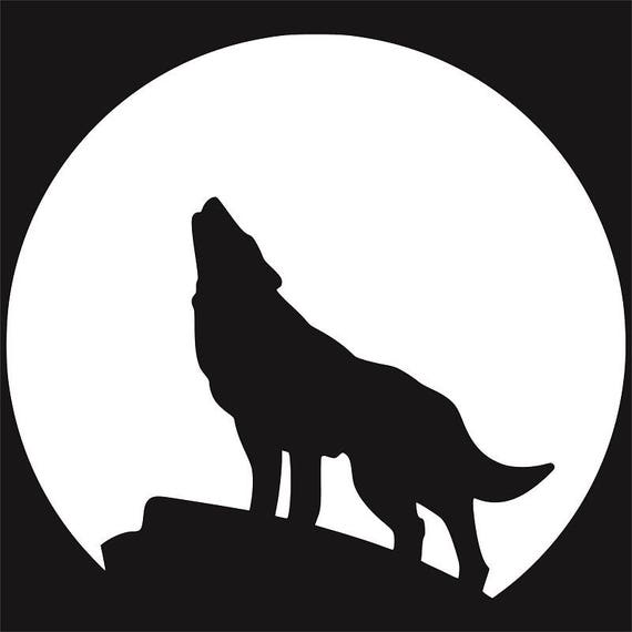 Wolf Howling At The Moon Silhouette Clip Art AI SVG DXF