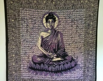 Buddha Wall Tapestry 100% cotton wall hanging art Large 84 x 90 inches Beautiful Buddha Violet, Red, Green/red, yellow, or Gold
