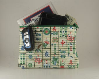 MahJong rectangle Embroidered and lined zipper bag