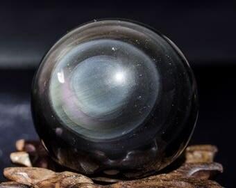 """2.12""""Best Rainbow Obsidian Sphere/Rainbow Obsidian Ball/Rainbow Eye/Obsidian Quartz Ball/Crystal Healing/Energy Stone/Christmas Gift #2586"""
