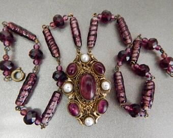Neiger, Czech, Vintage, Victorian Revival, Purple Foil Cabochons, Faux Pearls Necklace