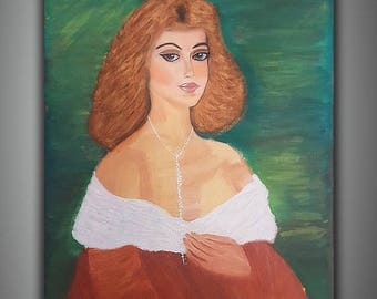 ON SALE acrylic painting, Large art, 33x27, Modern Art, Fine Art, Large wall art, red green, Untitled Girl, by Tal azari