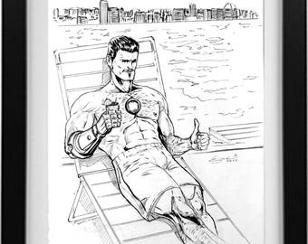 Tony Stark, Iron Man ink drawing