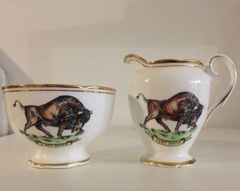 Fort Smith Northwest Territories Canada sugar bowl creamer set Fine Bone China England 50s