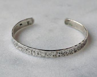 Hammered Cuff in Argentium Silver