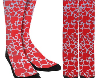 Valentines Day Heart Crew Socks - Clothing - Heart Socks- Valentines Day Socks -Unique Socks- Novelty Socks - 100% Comfort-FREE Shipping C52