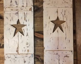 Primitive Rustic Shutters with Star cut-out. (sets of 2)