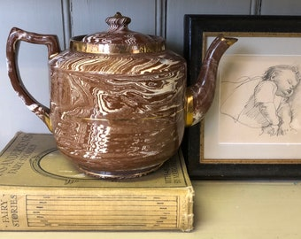 A Large Vintage Mid-century Sudlow's Burslem Brown Marbled China Teapot