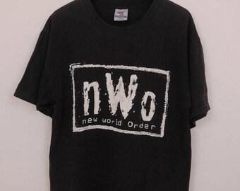 Vintage NWO New World Order T-Shirt Swag Street Wrestling Wear Top Tee Size L