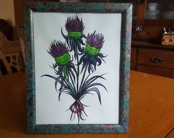 Thistle - Gouache and Ink Marker Illustration
