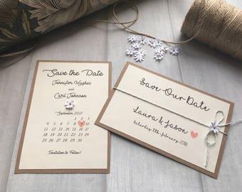 Bespoke Handmade Wedding Ivory Rustic Save The Dates
