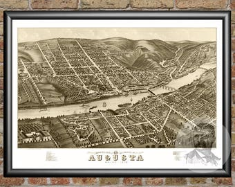 Augusta, Maine Art Print From 1878 - Digitally Restored Old Augusta, ME Map Poster  - Perfect For Fans Of Maine History