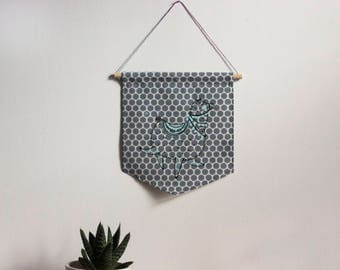 Wall banner 2 colors, festive alpaca, dots fabric, wall decoration, decoration, gift, baby gift, animal lover