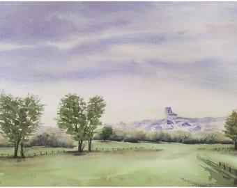 Aquarelle originale paysage peinture à l'aquarelle paysage de campagne française