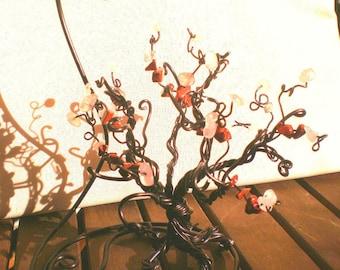 Tree of life with rose Quartz stones and carnelian.