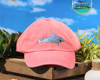 Great White Shark Embroidered Baseball Hat, Cute Shark Hat, Cute Gift, Choose Your Own Color Hat, Customized Hat, Low Profile Hat, Dad Hat