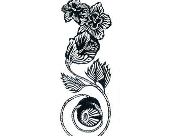 Custom Yoyo Lino Print- Amapolas Linoprint- Relief Printmaking Linoleum Block Print- Linoleum Print- Wooden Yoyo Relief Prints