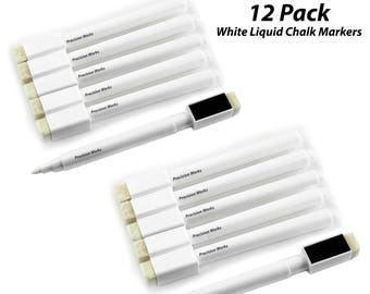 12 Pack - White Liquid Chalk Markers With Magnetic Cap And Eraser