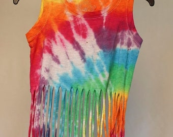 25% OFF ENTIRE SHOP Girls Size 2 Fringe Singlet - Beach - Festival - Ready To Ship - Tie Dyed - Fashion - 100 Percent Cotton - Free Shipping