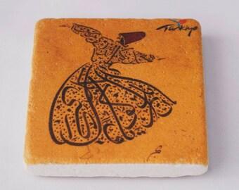 Turkish Whirling Dervish Melvana Rumi Tile Rumi Fridge Magnet