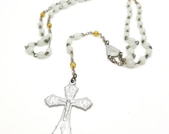 Vintage Rosary Mother of Pearl Beads Virgin Mary Italy Italian Crucifix Cross Antique First communion Prayer Confirmation Wedding
