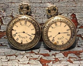 Vintage Brillium Pocket Watch Salt & Pepper Shakers