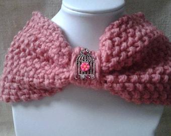 Pink wool headband and bird cage