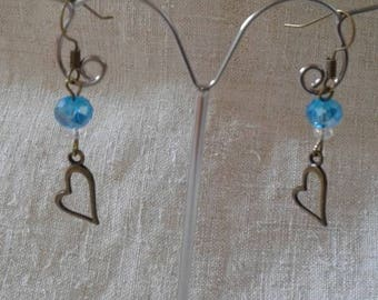 heart and blue pearl earrings