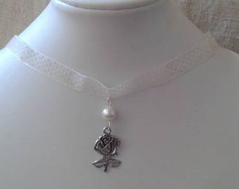 """""""Ribbon with polka dots ivory and silver rose"""" Choker necklace"""
