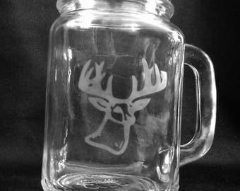 Etched Mason jar glass. Deer Hunters drinking glass