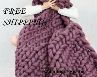 FREE SHIPPING!!! 100% merino wool blanket Chunky wool blanket  wool blanket Arm knit blanket Super chunky blanket Super thick blanket