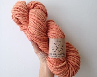 Bulky Naturally Dyed 100% Wool Yarn - Madder Root Coral Pink Peach