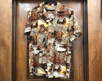 Vintage 1950s Silk 'Hawaiian Casuals by Stan Hicks' Native Pattern Hawaiian Shirt