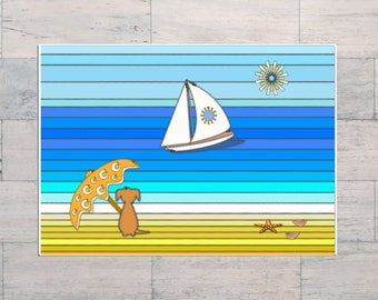 Beach Lover Art, Beach Life, Another Day in Paradise, Summer Holiday, Sailing, Boat, Parasol, Printable, Instant Download, Digital Download