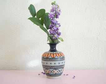 Vintage Mexican Ceramic Vase / 90s Javier Servin Vase / Intricate Floral Pottery Vase / Hand-Painted Mexican Vase