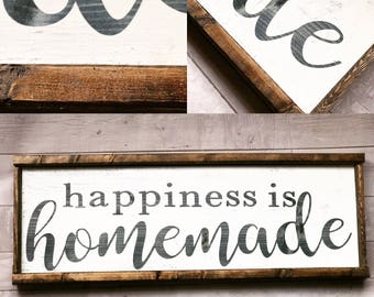 Happiness is Homemade / Framed Wood Sign