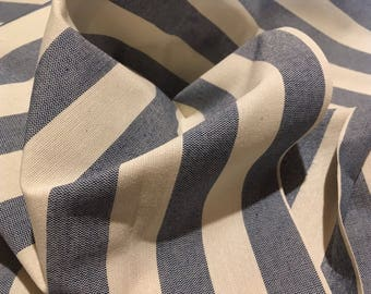"""Vintage - 2 1/4 yard remnant. Blue and off-white 1"""" stripe on medium weight canvas duck"""