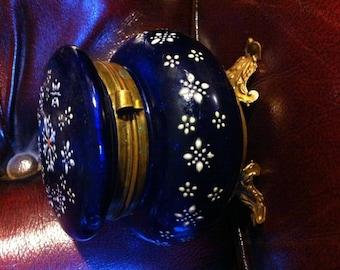 Bohemian Art Glass Jeweled Enamel Trinket Casket Box