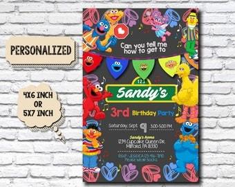 Sesame Street Invitation,Sesame Street Birthday,Sesame Street Party,Sesame Street Card,Sesame Street Printable,Sesame Street,Sesame_BS040