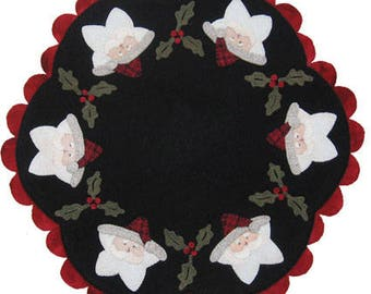 Quilt Wool Embroidery Kris Kringle Star Candlemat pattern by Lily Anna Stitches 15.5""