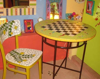 Chess Board with Tile - ceramic pedestal
