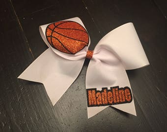 Personalized Basketball Cheer Bow, white ribbon basketball bow