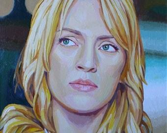 """Uma Thurman-""""Kill Bill"""". A portrait of butter on a canvas. Uma Thurman/Beatrix Kiddo-Kill bill"""