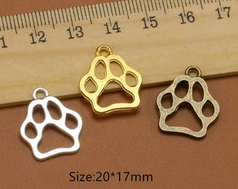 10pcs Fashion Dog Paw Charms Pendants,Bear Paw Charms,Cat Paw Charm,Animal Footprint Charm necklace Bracelet Jewelry