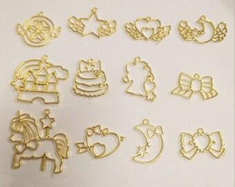 10Pcs Trojan Butterfly Love Star Girl Heart Shape Open Bezel Metal Frame Pendant Charm Bezel Setting Cabochon Setting UV Resin Charm Jewelry