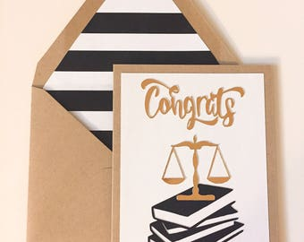 Law School Congratulations Card,  Custom & Handmade to Order