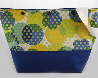 Blue-yellow-gold project bag with snap buttons, for knitting or crochet