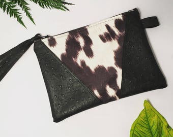 Cowhide and ostrich leather clutch purse